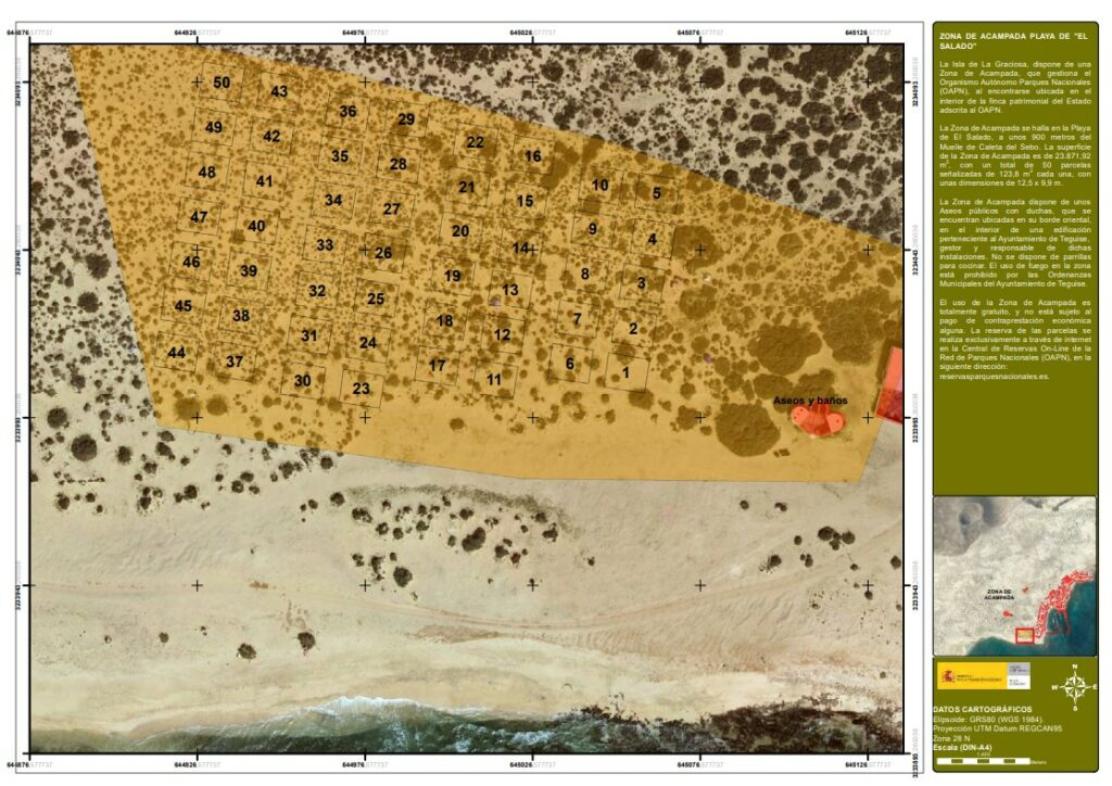 Zelten La Graciosa - Plan der Parzellen